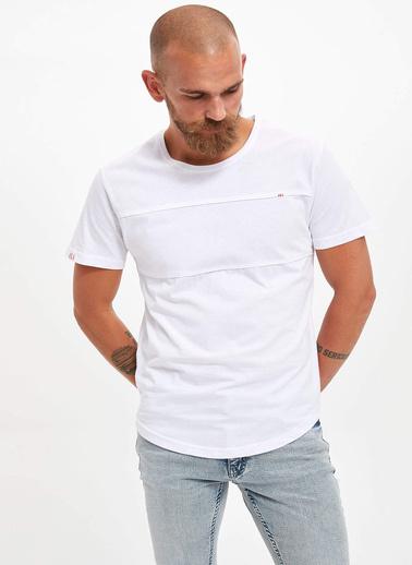 DeFacto Kısa Kollu Slim Fit T-shirt Beyaz